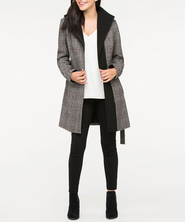 Glen Plaid Belted Wool Blend Coat, Black/Pearl/Burgundy, hi-res