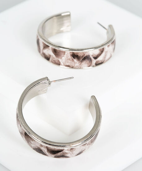 Faux Leather Python Hoop Earring, Grey/Almond/Rhodium, hi-res