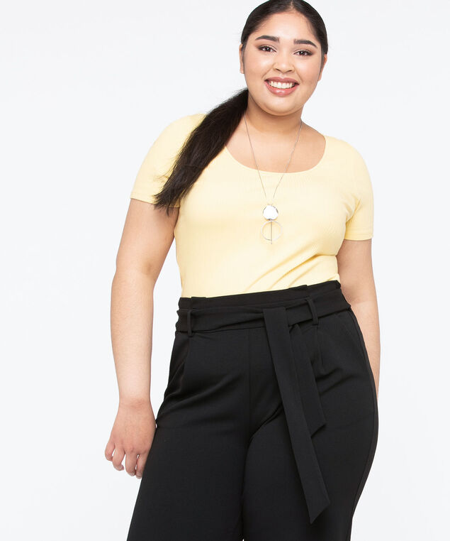 Short Sleeve Scoop Neck Top, Lemon, hi-res