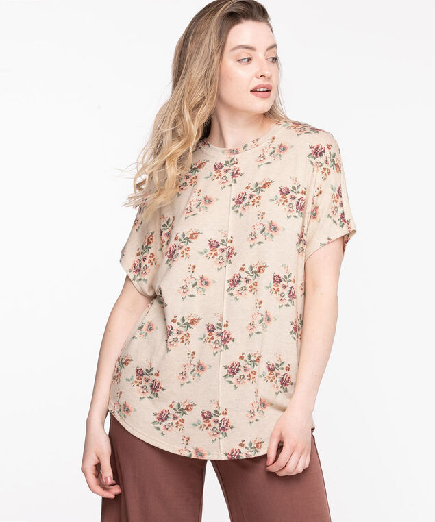 Lightweight Knit Tunic Top, Cement Floral