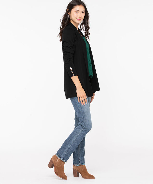 Ribbed Side Tab Open Cardigan, Black, hi-res