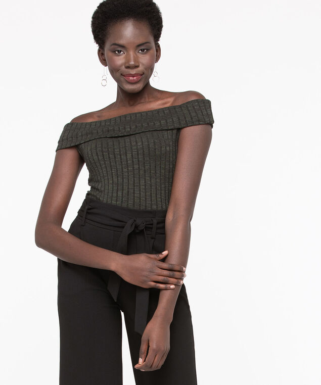 Sleeveless Ribbed On/Off Shoulder Top, Basil, hi-res