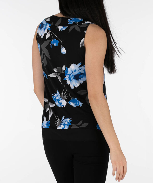 Chiffon Trim Pleat Front Overlay Top, Black/Blue, hi-res