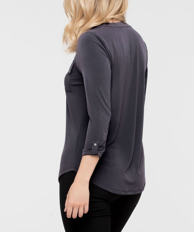 Roll Cuff Henley, Dark Grey, hi-res