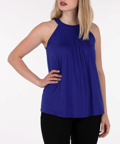 Sleeveless Pleat Neck Top, Deep Sapphire, hi-res