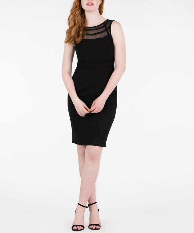 Sleeveless Strappy Illusion Neck Dress, Black, hi-res