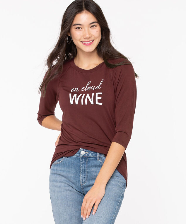 Scoop Neck Raglan Graphic Tee, Wine/Pearl, hi-res
