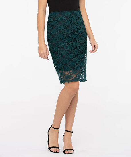 Lace Overlay Pencil Skirt, Deep Green/Black, hi-res