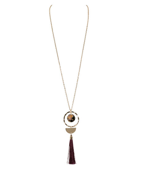 Tassel & Geo Pendant Necklace, Black Cherry/Soft Gold, hi-res