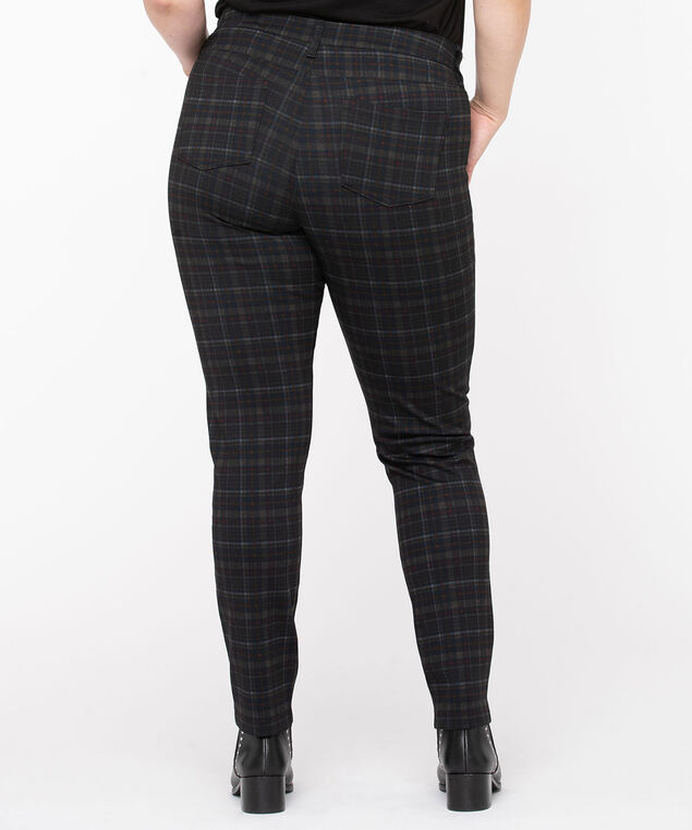 Plaid Ponte Button Front Skinny Leg, Charcoal Plaid, hi-res
