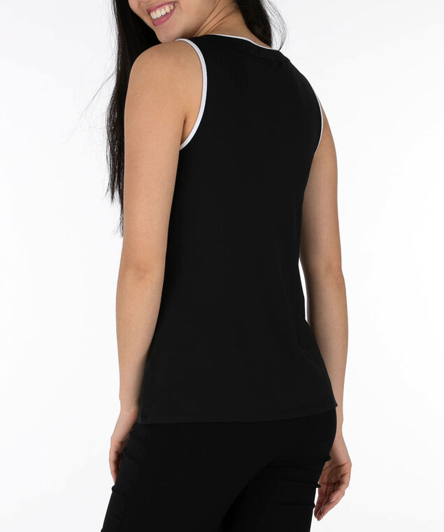 Ruffle Front Sleeveless Top, Black/White, hi-res