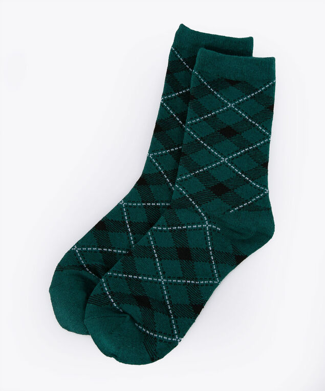 Plaid Pattern Socks, Ivy, hi-res