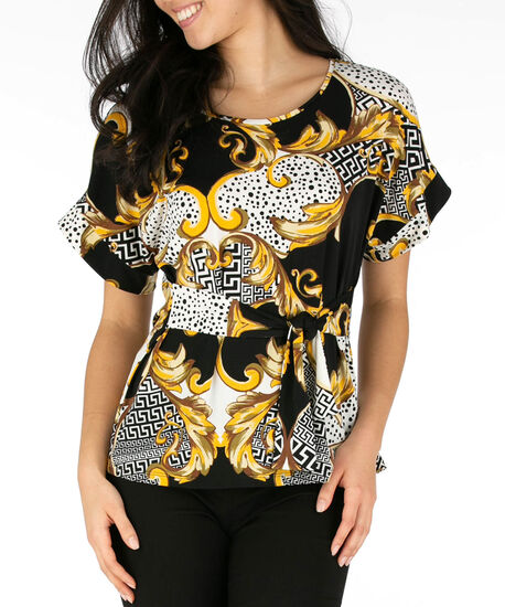 Tie-Front Scarf Print Top, Yellow/Black/Ivory, hi-res