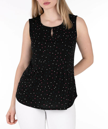 Sleeveless Keyhole Pintuck Top, Black/Pink/Emerald, hi-res
