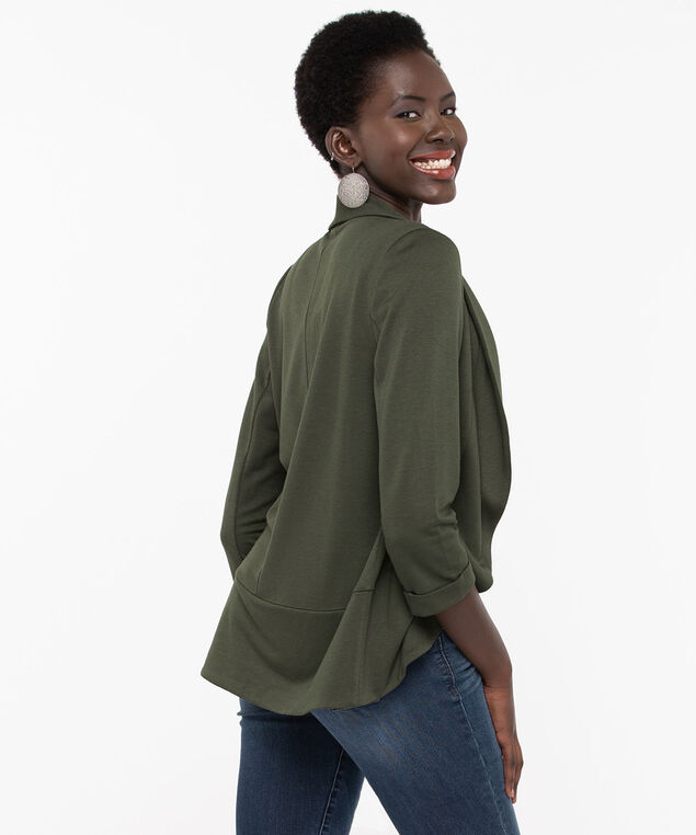 Shawl Collar Knit Cover Up, Basil, hi-res