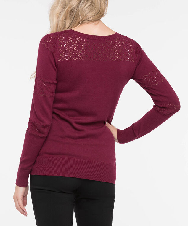 Pointelle Yoke Pullover Sweater, Burgundy, hi-res