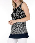 Keyhole Sleeveless Top, Black/White/Navy, hi-res