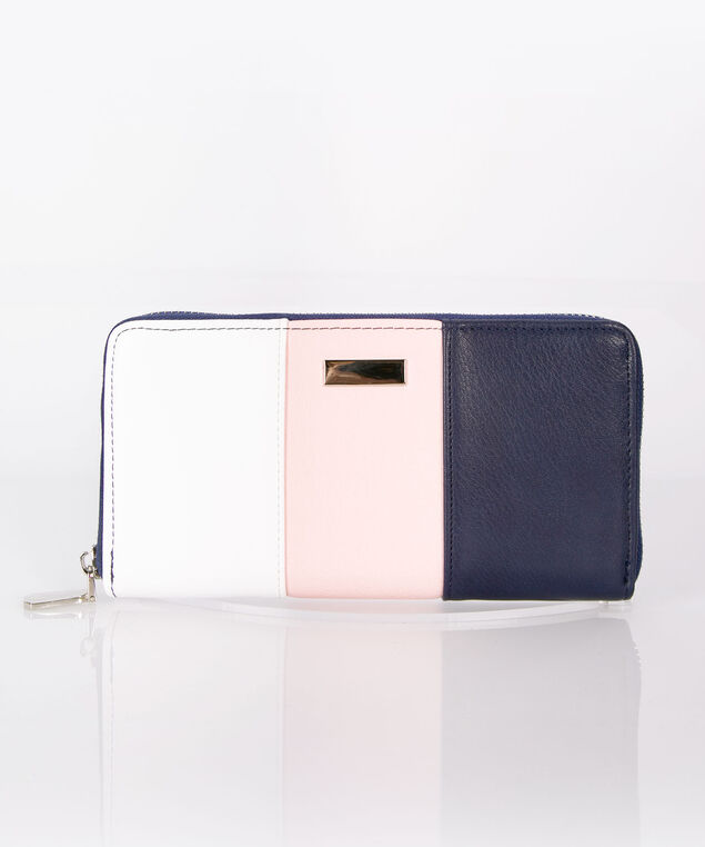 Colourblock Zipper Wallet, Rose/Navy/Pearl, hi-res