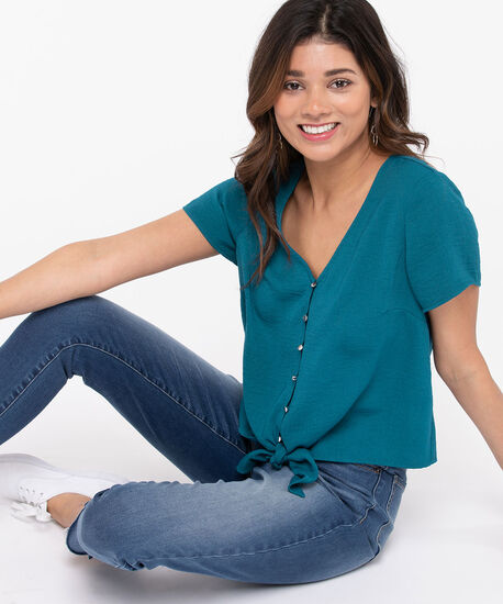 Button Up Tie Front Blouse, Midnight Teal, hi-res