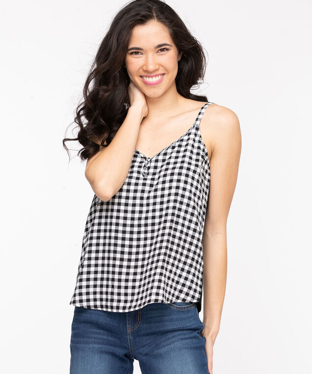 Strappy Patterned Cami, White/Black Check