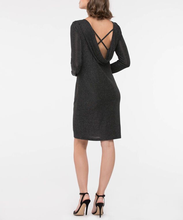 Long Sleeve Cowl Back Glitter Dress, Black, hi-res