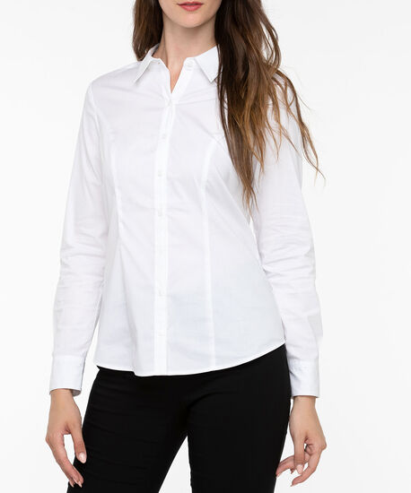 Button Front Collared Blouse, White, hi-res