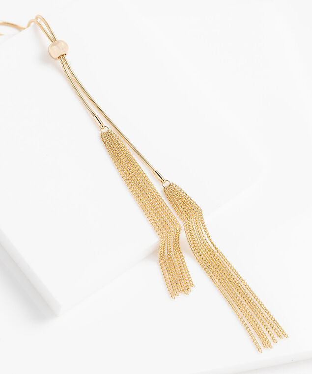 Metal Tassel Adjustable Lariat Necklace, Gold