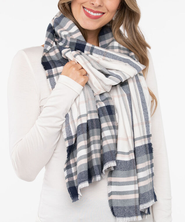 Soft Plaid Oblong Scarf, Pearl/Dusty Pink/Steel Blue, hi-res