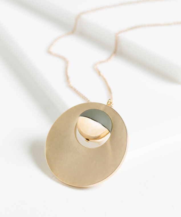 Metal Disc Pendant Necklace, Sage/Gold, hi-res
