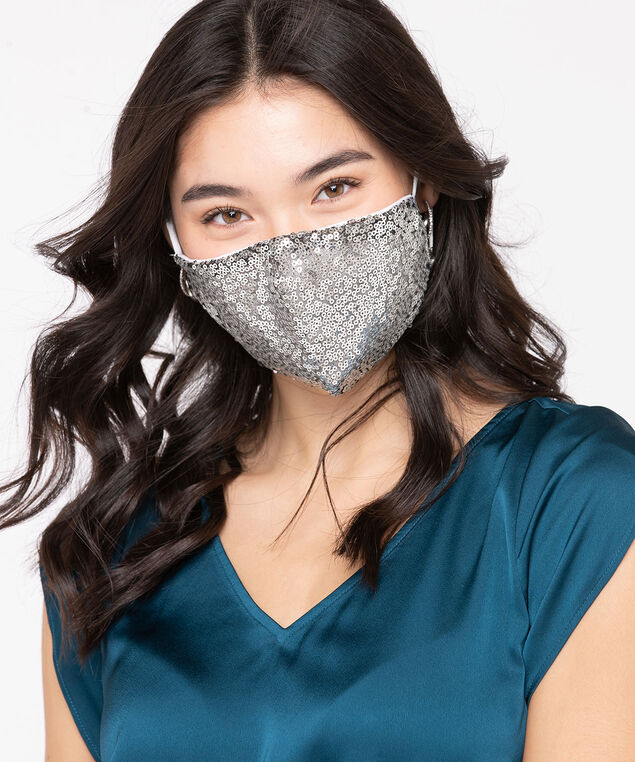 Sequined Face Mask, Silver/White, hi-res