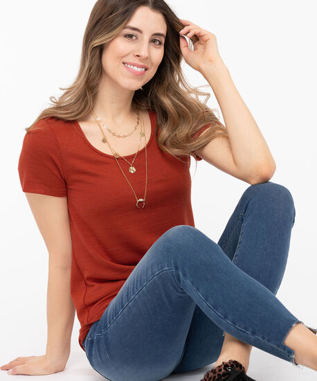 Short Sleeve Lightweight Knit Top, Chili, hi-res