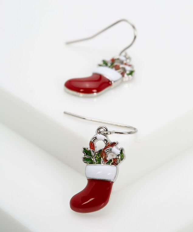 Holiday Stocking Earring, Crimson/Rhodium, hi-res