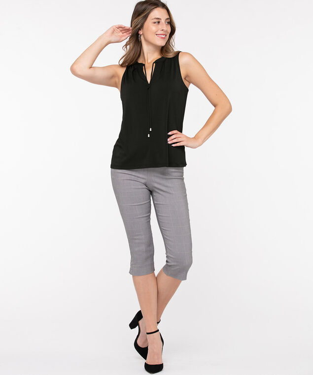Sleeveless Keyhole Tie-Neck Top, Black, hi-res