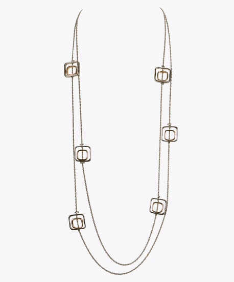 Mixed Metal Stationed Square Necklace, Rhodium/Soft Gold, hi-res