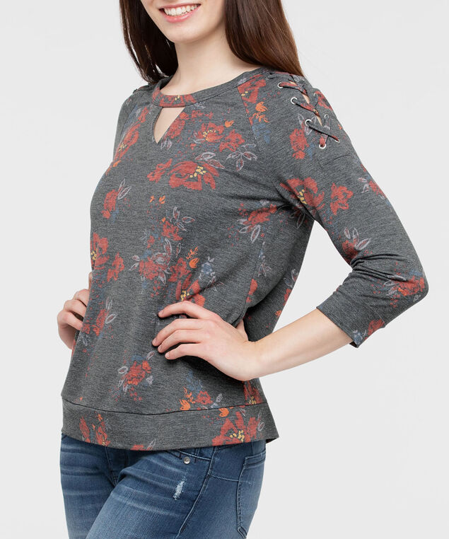 Lace Up Keyhole Knit Top, Heathered Charcoal/Rust/Pumpkin, hi-res