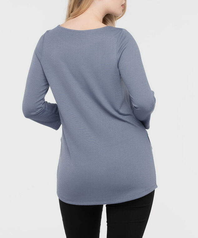 Button Detail 3/4 Sleeve Top, Soft Blue, hi-res