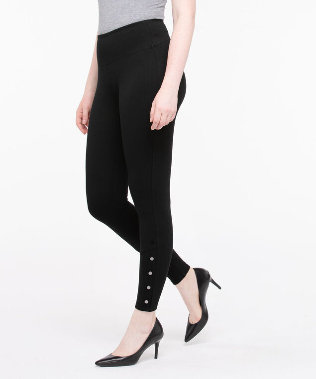 Luxe Ponte Snap Detail Legging, Black, hi-res