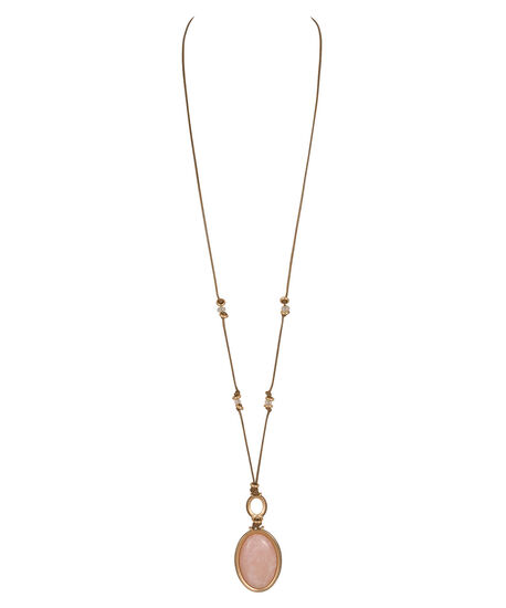Natural Stone Pendant Necklace, Peach/Brown/Soft Gold, hi-res