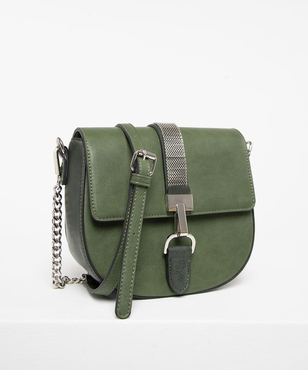 Mixed Chain Crossbody Saddlebag, Rhodium/Moss, hi-res