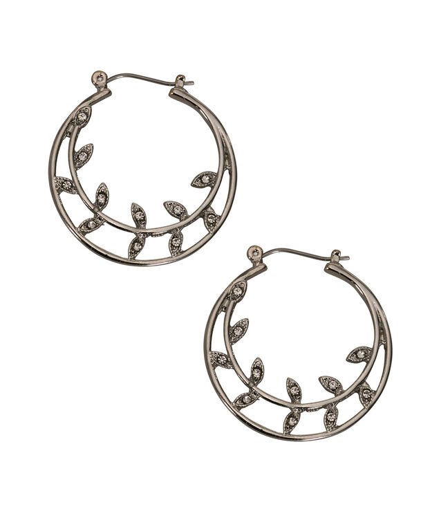 Crystal Leaf Hoop Earring, Clear/Rhodium, hi-res