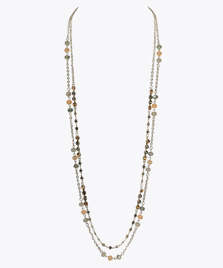 Beaded Double Strand Stationed Necklace, Coral/Blue/Rhodium, hi-res