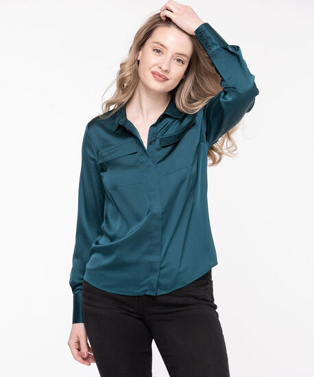 Collared Hidden Button Satin Blouse, Reef Waters, hi-res