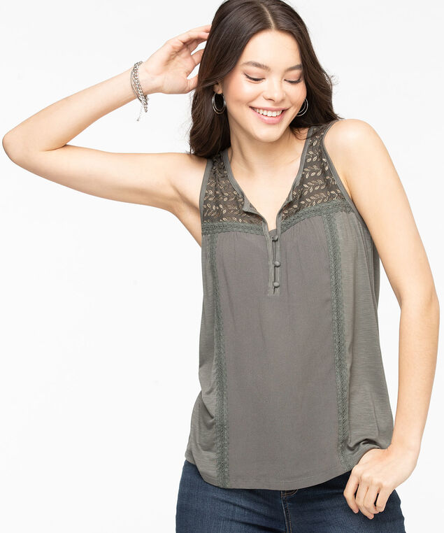 Sleeveless Crochet Trim Top, Olive