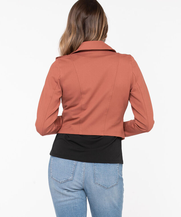 Ponte Crop Moto Jacket, Terra Cotta, hi-res
