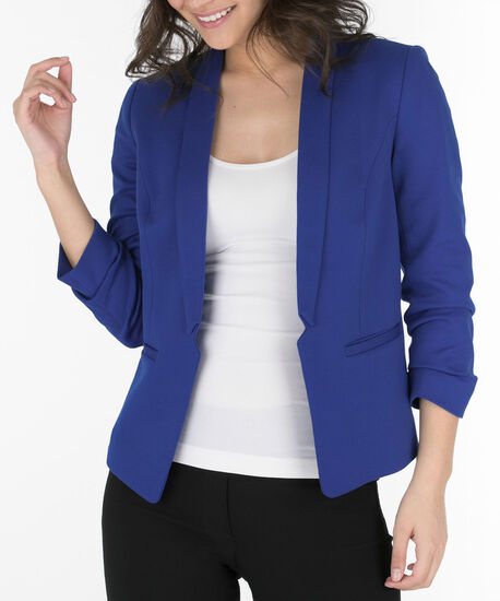 Knit Notch Collar Open Blazer, Mid Blue, hi-res
