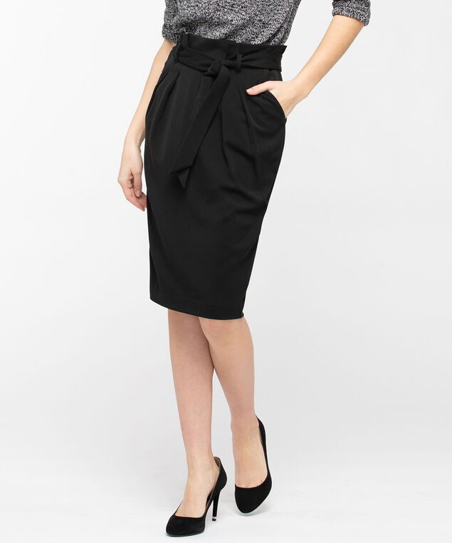 Paperbag Waist Pencil Skirt, Black, hi-res