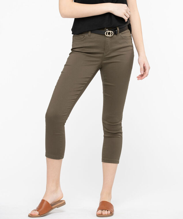 Fly Front Jegging Crop, Basil