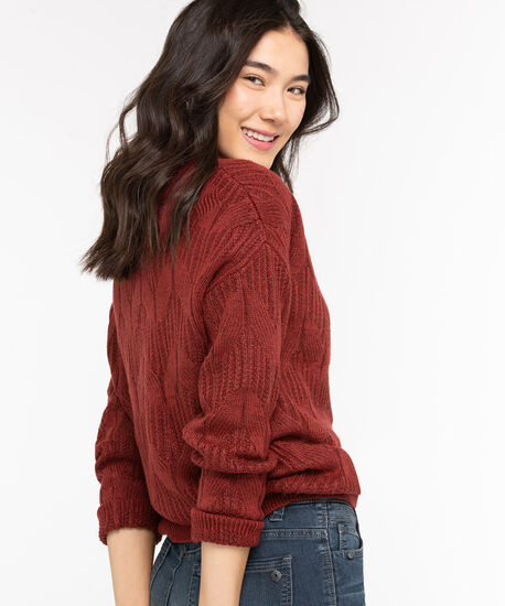 Cable Knit Mock Neck Sweater, Chili Pepper, hi-res
