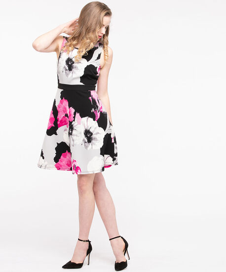 Floral Scuba Fit & Flare Dress, Black/Pearl/Mid Pink, hi-res