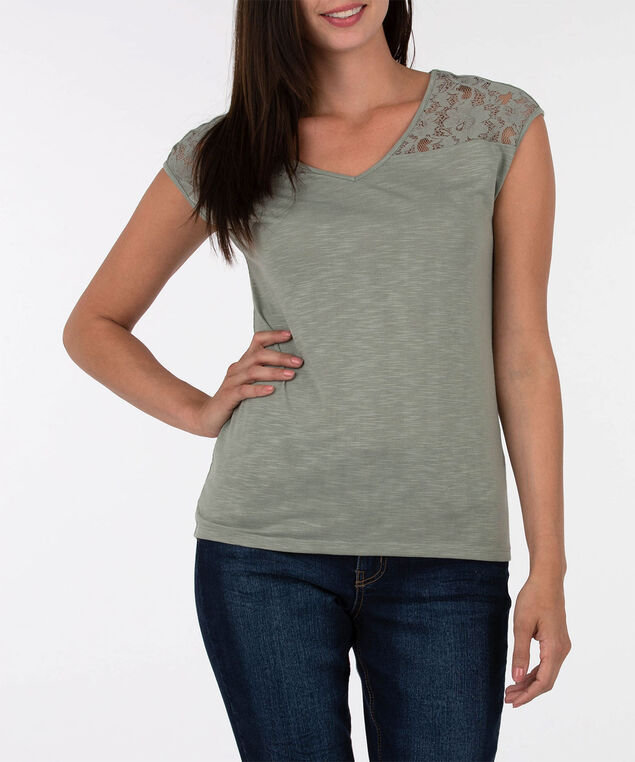 Lace Trim Extended Sleeve Top, Light Sage, hi-res
